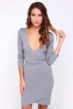 LULUS Exclusive Lean Into It Grey Dress at Lulus.com!