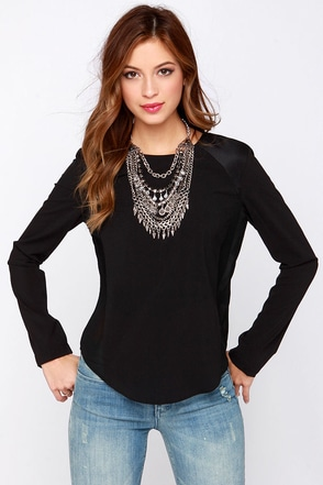 Points for Style Black Long Sleeve Top at Lulus.com!