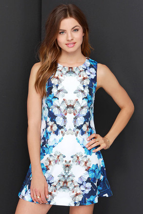 Finders Keepers Easy Easy Blue and Ivory Floral Print Dress at Lulus.com!