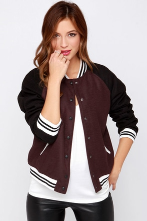 Pinch Runner Dark Burgundy Varsity Jacket at Lulus.com!