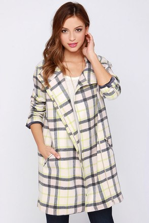 Finders Keepers Long Time Cream Plaid Coat at Lulus.com!