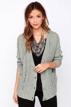 Olive & Oak Warmest Wishes Sage Green Knit Cardigan Sweater at Lulus.com!