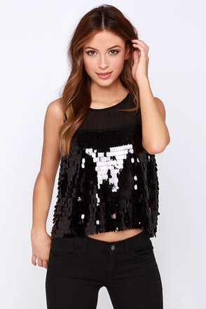 Off the Chainmail Black Sequin Top at Lulus.com!