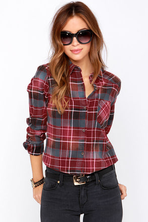 RVCA Jig Red Plaid Flannel Long Sleeve Top at Lulus.com!