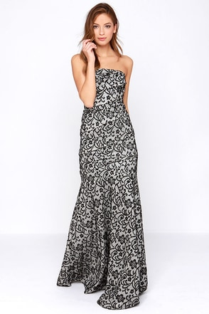 Rubber Ducky Tanya Strapless Black and Ivory Lace Maxi Dress at Lulus.com!