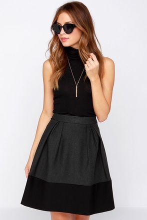 Think Twice Grey and Black Skirt at Lulus.com!