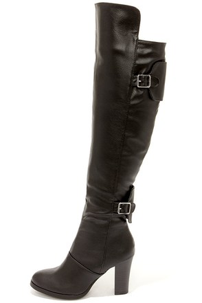 Tall Tales Black Over the Knee Boots at Lulus.com!