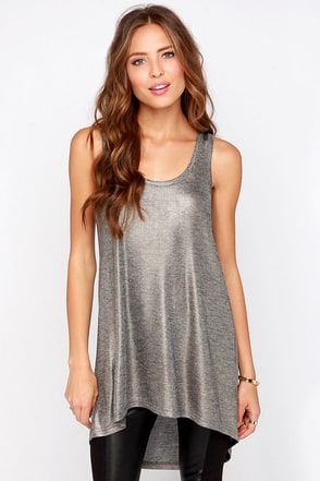 RVCA Swanson Pewter Tunic Top at Lulus.com!