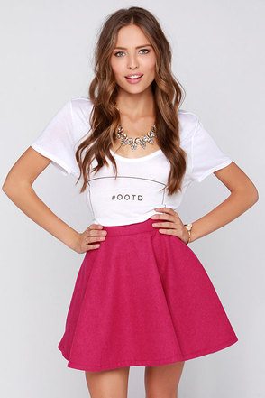Leachville Fuchsia Flared Skirt at Lulus.com!