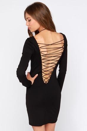 Wyldr On the Prowl Black Long Sleeve Dress at Lulus.com!