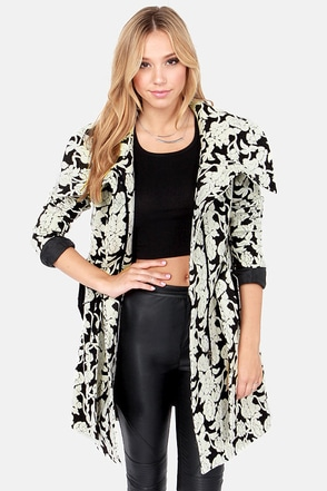 Fleur My Favorite Grey and Black Floral Print Coat