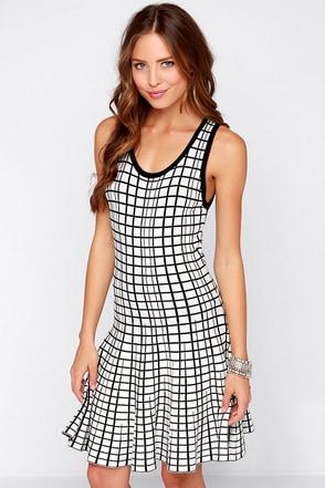 Longitude and Latitude Ivory and Black Print Dress at Lulus.com!