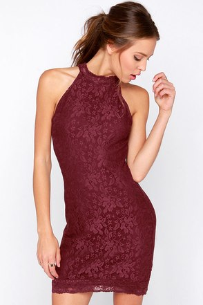 Wyldr Chaser Burgundy Lace Dress at Lulus.com!