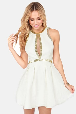 Lumier Splendid on a High Note Ivory Jacquard Dress
