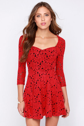 Mink Pink Little Red Black and Red Jacquard Dress at Lulus.com!