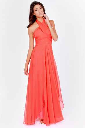 Bariano Awards Winner Coral Red Dress