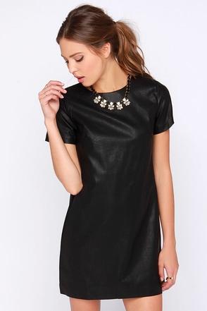 Total Control Black Vegan Leather Dress at Lulus.com!