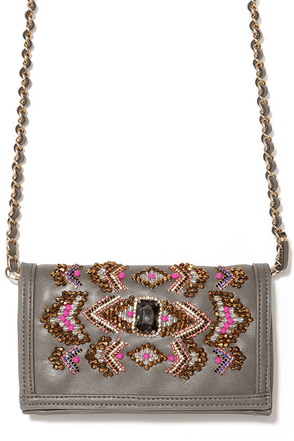 By Any Beads Grey Beaded Clutch at Lulus.com!