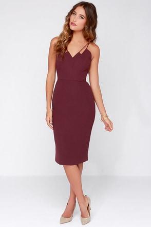 Keepsake Skinny Love Burgundy Midi Dress at Lulus.com!