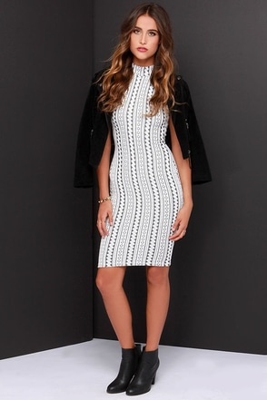 Been Trying to Meet You Ivory Print Midi Dress at Lulus.com!