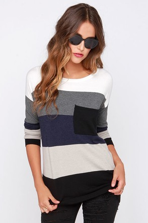 Hot Cocoa Navy Blue and Black Striped Sweater at Lulus.com!