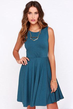 Safford Teal Blue Skater Dress at Lulus.com!