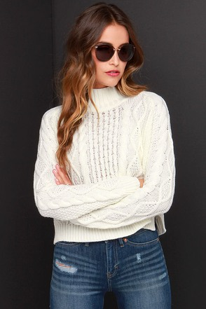 Mink Pink Chalet Girl Cream Sweater at Lulus.com!