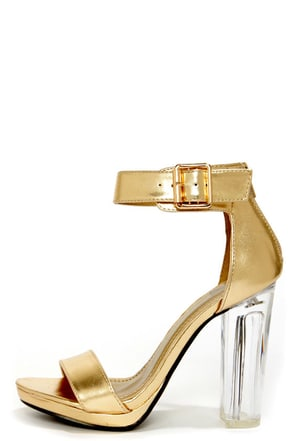 Gold Block Heel Sandals