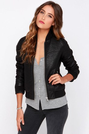 Obey SYD Black Vegan Leather Bomber Jacket at Lulus.com!