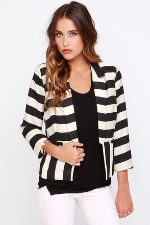 Under the Big Top Black and Ivory Striped Blazer at Lulus.com!