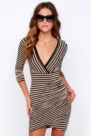 LULUS Exclusive Pleasant Surplice Tan and Black Striped Dress at Lulus.com!