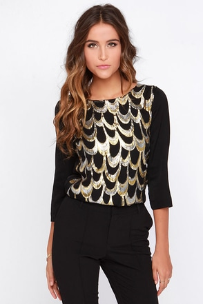Gilded City Gold and Black Top at Lulus.com!