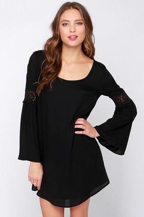 Coveted Company Long Sleeve Black Shift Dress at Lulus.com!