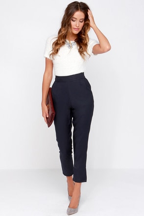 Trouser We Go Black High-Waisted Pants at Lulus.com!