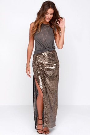 Closeup and Personal Gold Sequin Maxi Skirt at Lulus.com!