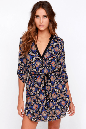 Play That Mosaic Black Print Dress at Lulus.com!