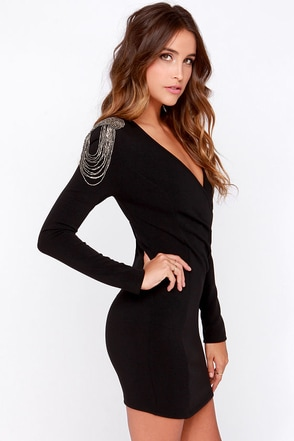 Miss Militia Black Long Sleeve Beaded Dress at Lulus.com!