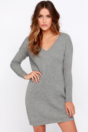 Cliff Notes Grey Sweater Dress at Lulus.com!
