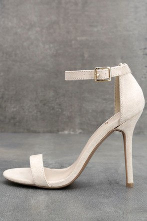 LULUS Elsi Bone Single Strap Heels 1