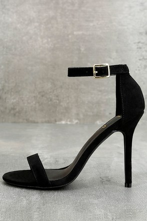 LULUS Elsi Black Single Strap Heels