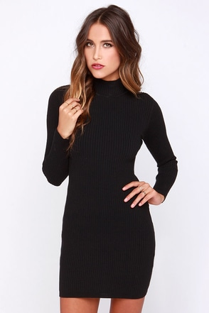 Mink Pink Ribbed Skivvy Black Bodycon Sweater Dress at Lulus.com!