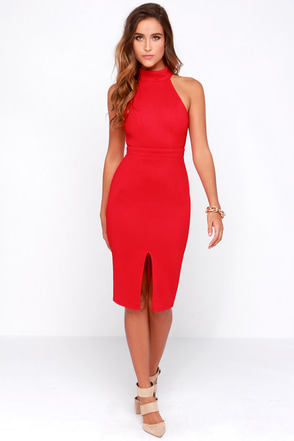 Outstanding Features Black Midi Dress at Lulus.com!