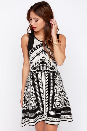 Matter of Prints-cipal Black and Ivory Print Sweater Dress at Lulus.com!