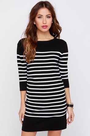 All Lined Up Black and Ivory Striped Sweater Dress at Lulus.com!