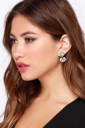 Blooming Out Gold Rhinestone Earrings at Lulus.com!