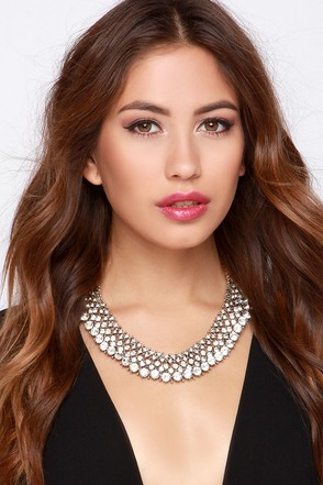 Cold as Ice Silver Rhinestone Statement Necklace at Lulus.com!