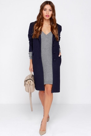 Cold Remedy Navy Blue Coat at Lulus.com!
