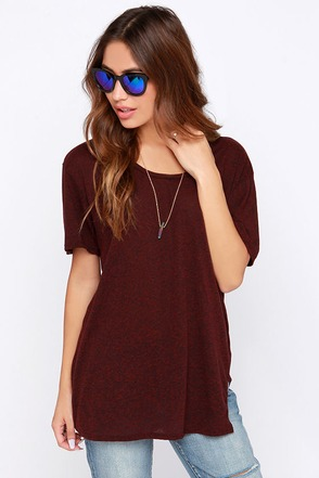 Project Social T Planetarium Burgundy Tee at Lulus.com!