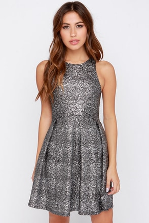 Fleck Yeah! Black and Silver Dress at Lulus.com!