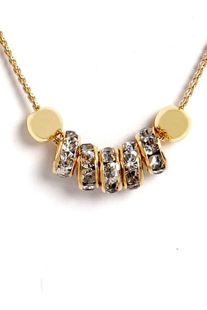 Rings True Gold Rhinestone Necklace